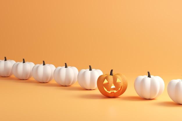 Dzień halloween, happy jack o lantern wśród białych dyń