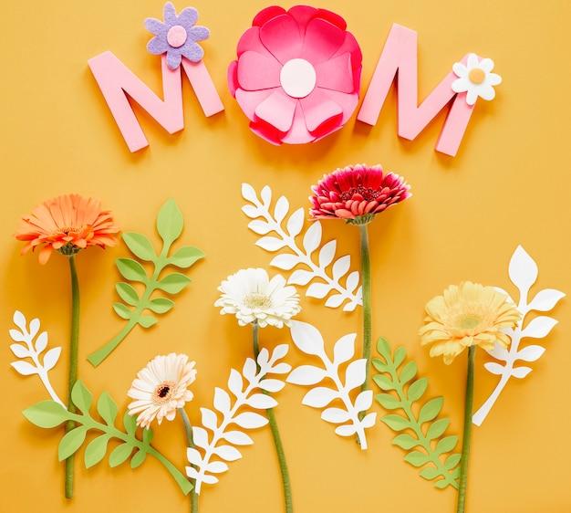 Dzień matki z kwiatami leżał płasko