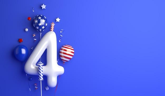Dzień niepodległości 4 lipca usa ze wstążką konfetti balon fajerwerków