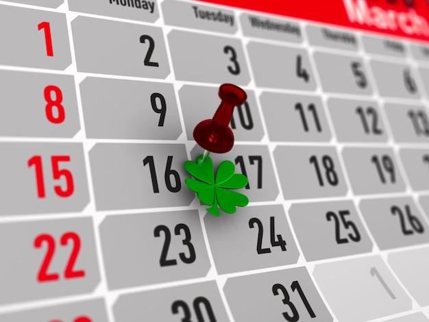 Dzień świętego patryka. kalendarz na marzec. ilustracja na białym tle 3d