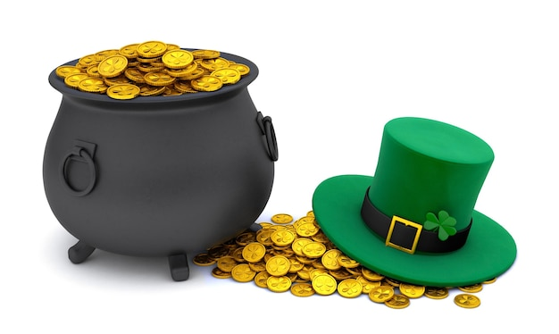 Dzień świętego patryka. zielony kapelusz leprechaun z koniczyną i garnkiem skarbów pełen złotych monet. na białym tle. renderowania 3d.