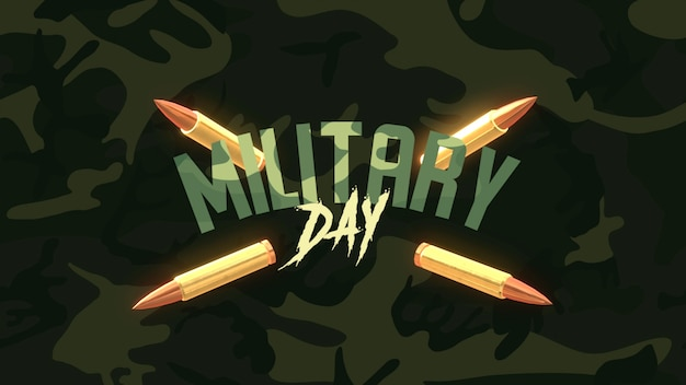 Dzień wojskowy tekst na zielonym tle wojskowych z patronami. elegancka i luksusowa ilustracja 3d dla szablonu wojskowego i wojennego