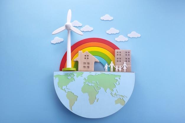 Dzień ziemi w nowoczesnym stylu. ochrona środowiska, ekologia. świat przyjazny dla środowiska. prosty, nowoczesny.