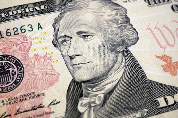 Dziesięć dolarów fragmentu banknotu makro