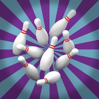 Dziesięć pin bowling z tło grunge. renderowanie 3d