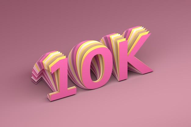 Dziesięć tysięcy obserwujących liczba 10k na różowym tle. ilustracja 3d.