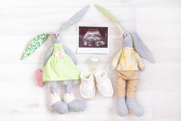 Dziewczyna czy chłopak. czekając na dziecko. usg obrazu płodu w łonie kobiety w ciąży i zabawki króliczków dla dziewczynki i chłopca