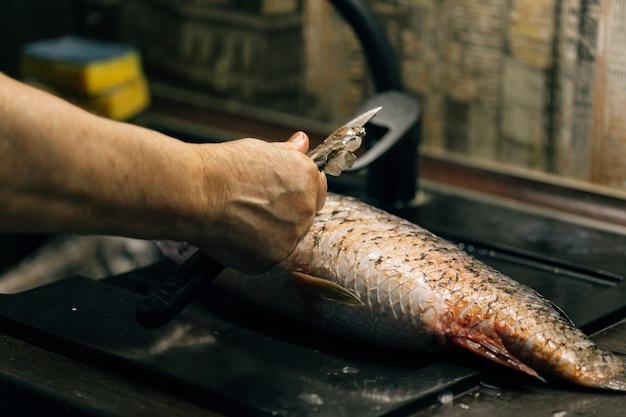 Dziewczyna czyści ryby w domu