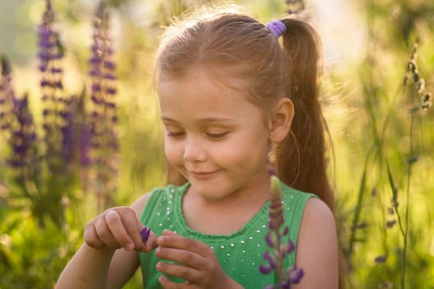 Dziewczyna i kwiat łubinu w przyrodzie