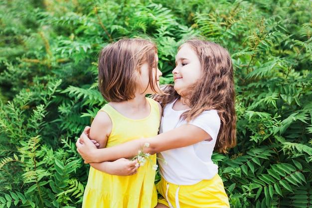 Dziewczyna i siostra chodzą w lecie, zieleń, ciepło, włosy, komunikacja, rodzina