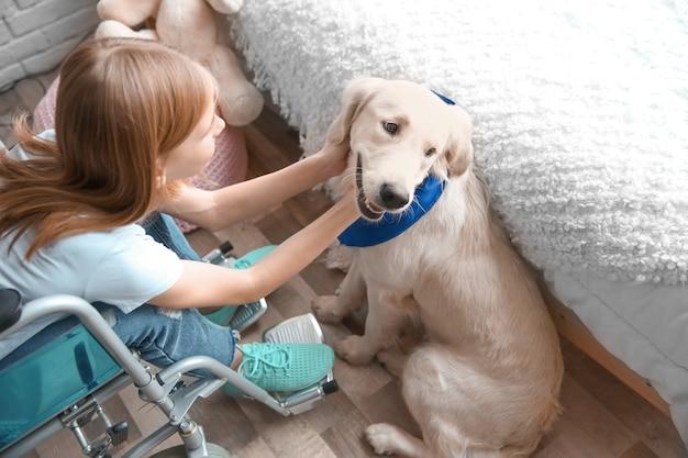 Dziewczyna na wózku inwalidzkim z psem przewodnikiem w pomieszczeniu