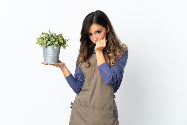 Dziewczyna ogrodnik trzyma roślinę na białym tle na białej ścianie, mając wątpliwości