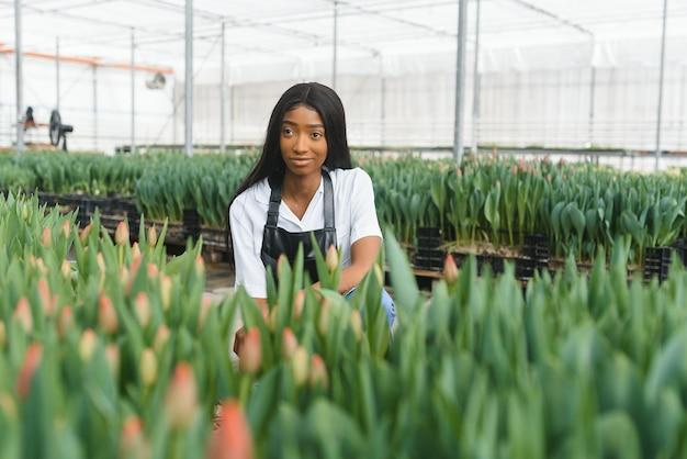 Dziewczyna, pracownik z kwiatami w szklarni