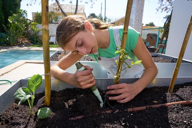 Dziewczyna pracuje w sadu podnoszącym łóżkowym ogródzie