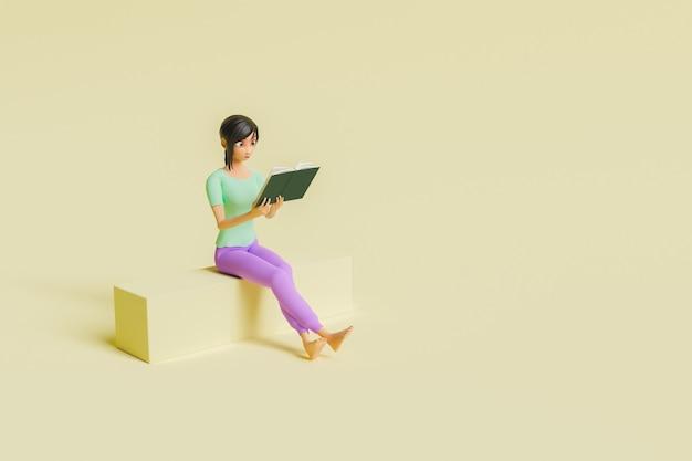 Dziewczyna siedzi i czyta książkę stylizowanej postaci 3d