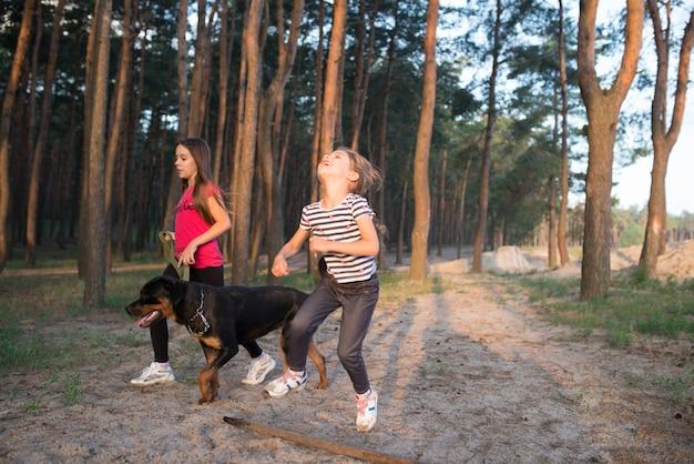 Dziewczyna skacząca przez gałąź w słoneczny poranek w lesie, a w tle siostra z psem