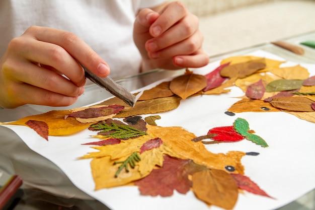 Dziewczyna składa aplikację z suchych liści. jeże i jabłko