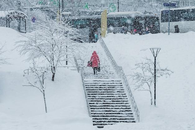 Dziewczyna spaceruje po parku podczas opadów śniegu