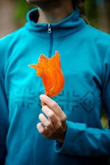 Dziewczyna trzyma egzotyczny, tropikalny, pomarańczowy kwiat z bliska