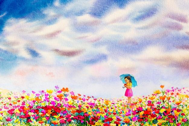 Dziewczyna trzymaj misie stoją, patrząc na kwiaty stokrotki