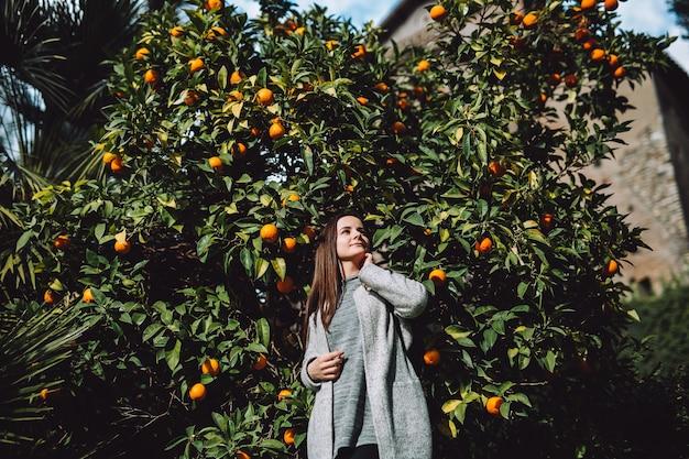 Dziewczyna w pobliżu drzewa mandarynki. drzewo pełne owoców