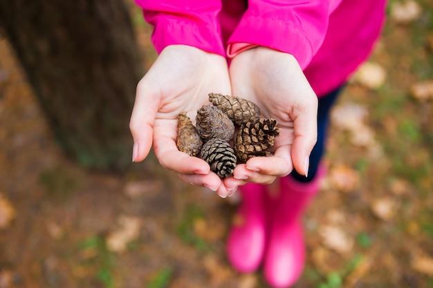 Dziewczyna w różowym płaszczu przeciwdeszczowym i gumowych butach trzyma w rękach szyszki jodły
