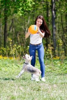 Dziewczyna w ruchu piłka szkoli psa w letnim parku