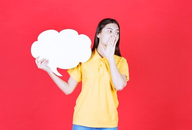 Dziewczyna w żółtym dresscode trzyma tablicę informacyjną w kształcie chmurki i zaprasza kogoś obok niej