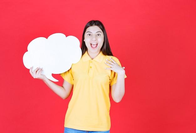 Dziewczyna w żółtym dresscode trzyma tablicę informacyjną w kształcie chmury i wygląda na podekscytowaną lub przerażoną.