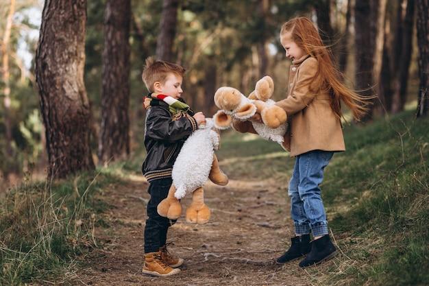 Dziewczyna z młodszym bratem razem w lesie
