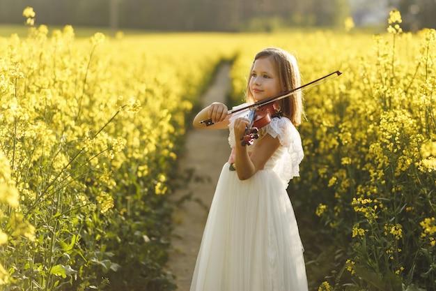 Dziewczyna ze skrzypcami w polu w lecie