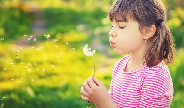 Dziewczynka dziecka z mniszka lekarskiego w parku