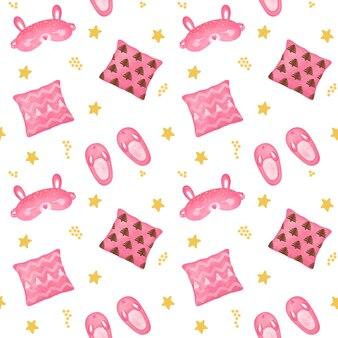 Dziewczyny różowy wzór, tapeta nocna, sen, przytulny projekt domu, tło na dobranoc, wzór dobranoc, papier do pakowania