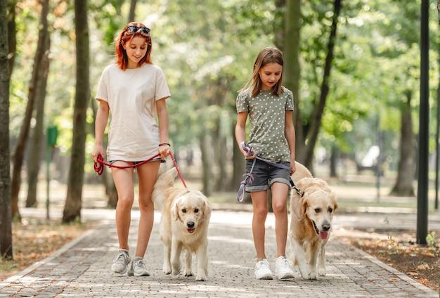 Dziewczyny z golden retriever psami spacerują po parku. piękne siostry spacerujące razem z pieskami w przyrodzie