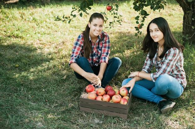 Dziewczyny z jabłkiem w sadzie jabłkowym