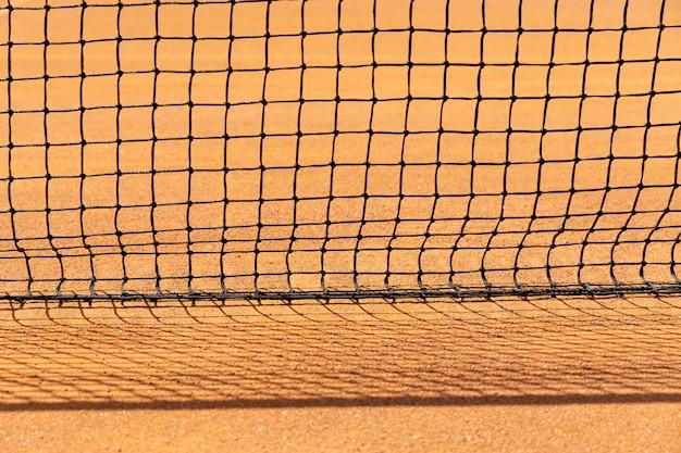 Dziewiarska siatka tenisowa z bliska