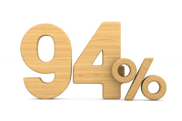 Dziewięćdziesiąt cztery procent na białym tle. ilustracja na białym tle 3d