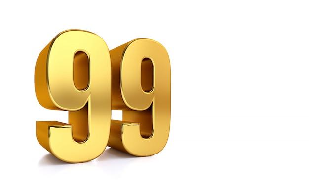 Dziewięćdziesiąt dziewięć, 3d ilustracyjna złota liczba 99 na bielu i kopii przestrzeń po prawej stronie dla teksta