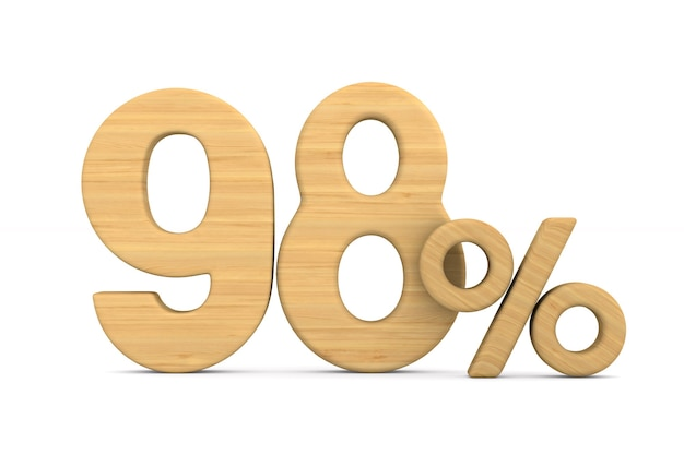 Dziewięćdziesiąt osiem procent na białym tle. ilustracja na białym tle 3d