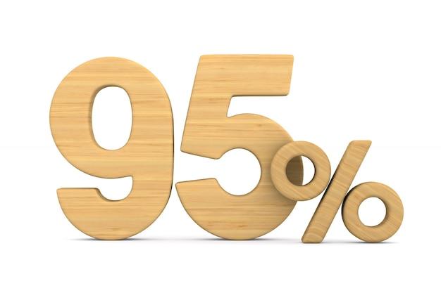 Dziewięćdziesiąt pięć procent na białym tle. ilustracja na białym tle 3d