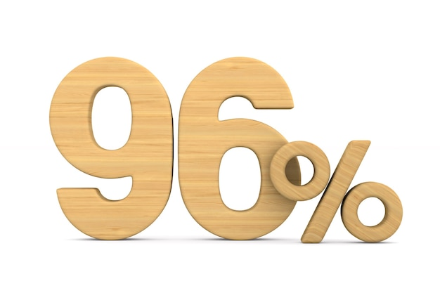 Dziewięćdziesiąt sześć procent na białym tle. ilustracja na białym tle 3d