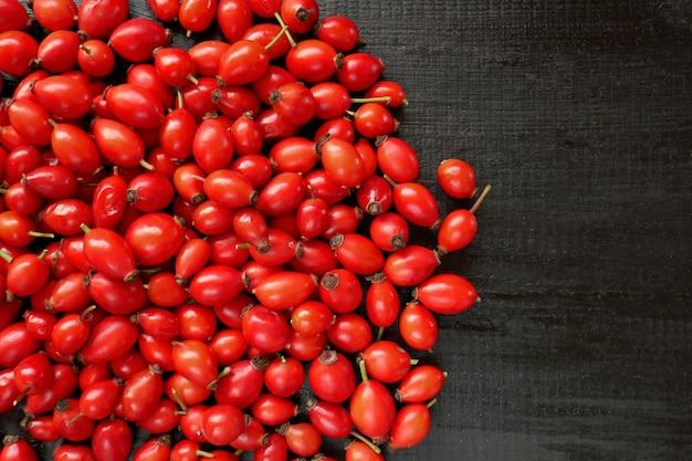 Dzika róża czerwone jagody na czarnym tle