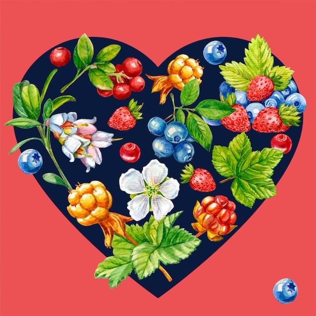 Dzikie jagody w kształcie serca