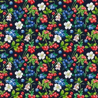 Dzikie jagody wzór. borówka, borówka, kwiaty