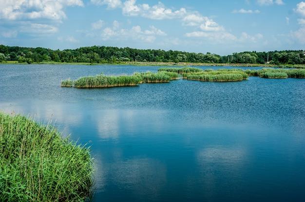 Dzikie jezioro latem błękitne niebo i chmury