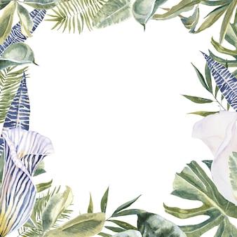 Dzikie kwiaty zwierzęce odciski skóry, tropikalne liście rama