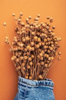 Dżinsy i sucha pościel na jasnobrązowym tle. koncepcja naturalnego dżinsu. jesienna kolekcja odzieży jeansowej. ekologiczna odzież wykonana z materiałów pochodzących z recyklingu.