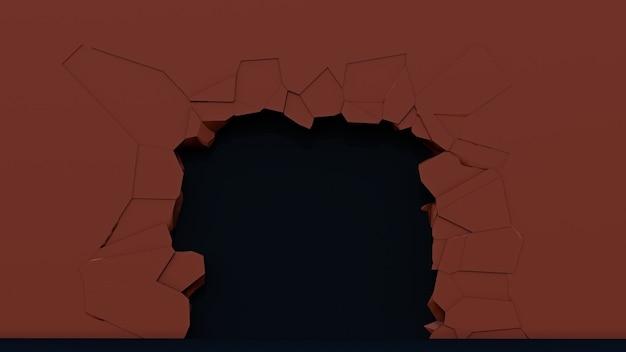 Dziura w ścianie z pęknięciami