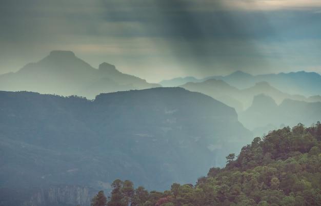Dżungla i góry w porze deszczowej w meksyku