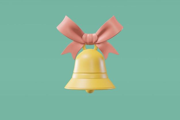 Dzwon ze wstążką w stylu kreskówki. renderowanie 3d